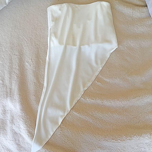 Bardot Asymmetrical White Top - Size 6