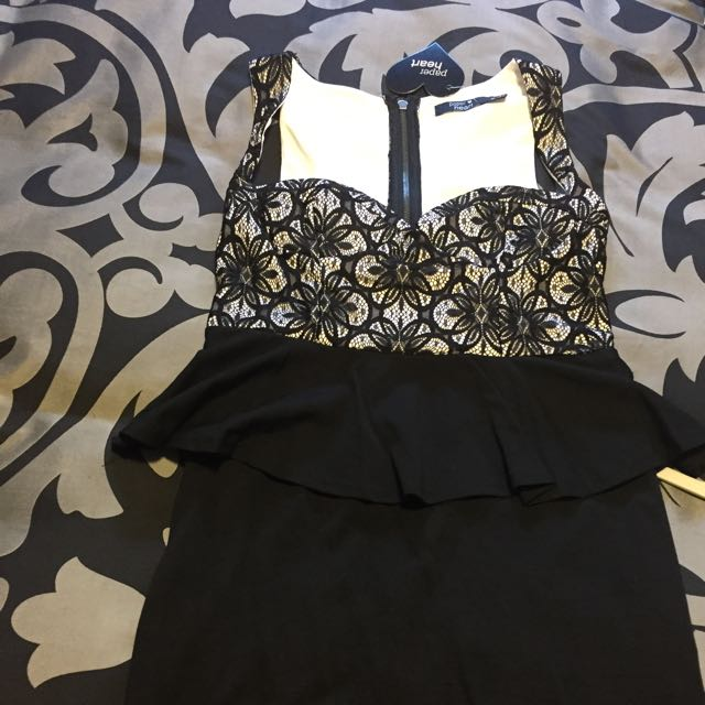 REDUCED!! Black And White Lace Peplum Dress Size 14