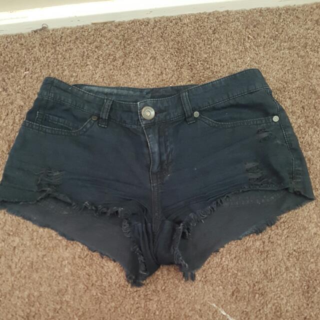 Black Denim Look Shorts Size 6
