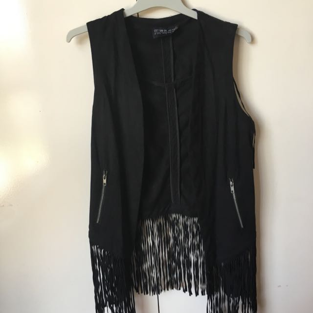 Black boho suede vest