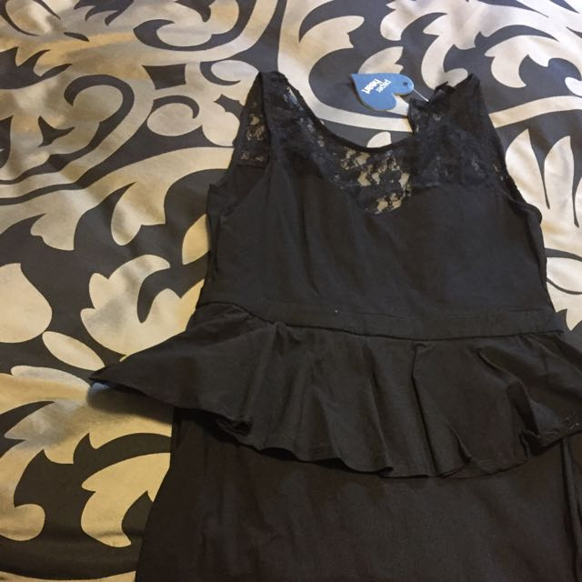 Black Lace Peplum Dress Size 14