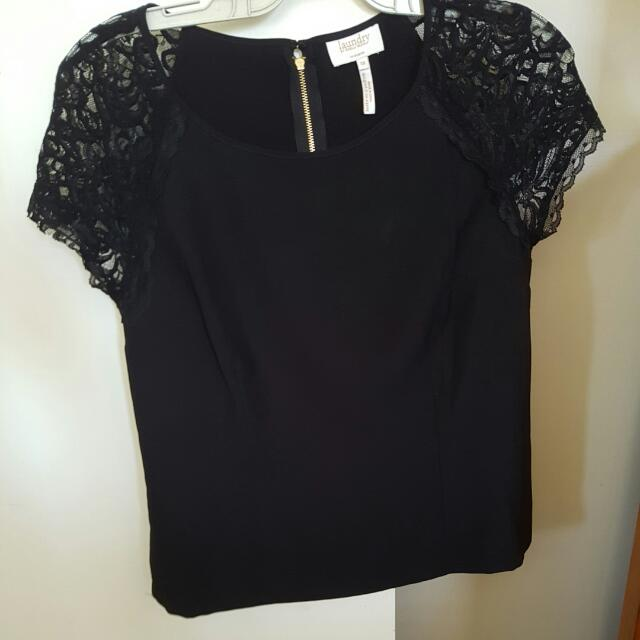 Black Lace Sleeves Top Size 10