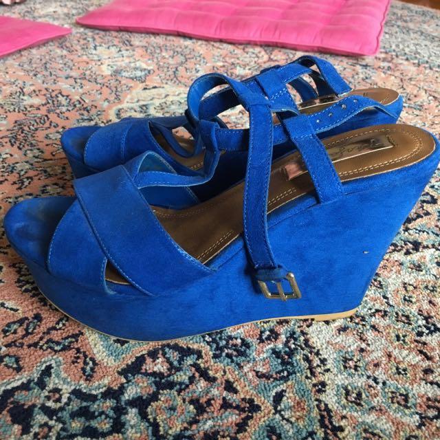 Blue Zara Wedges