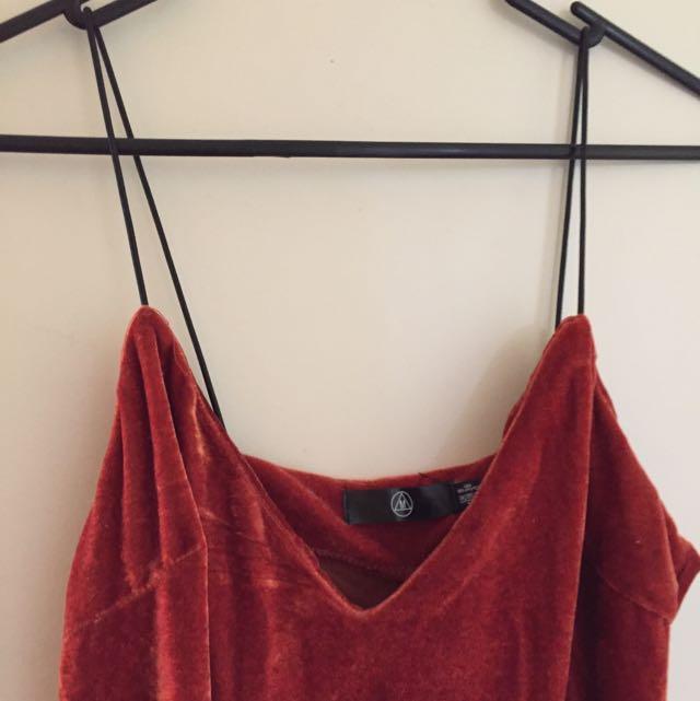 Burnt Orange Velvet Slip Dress