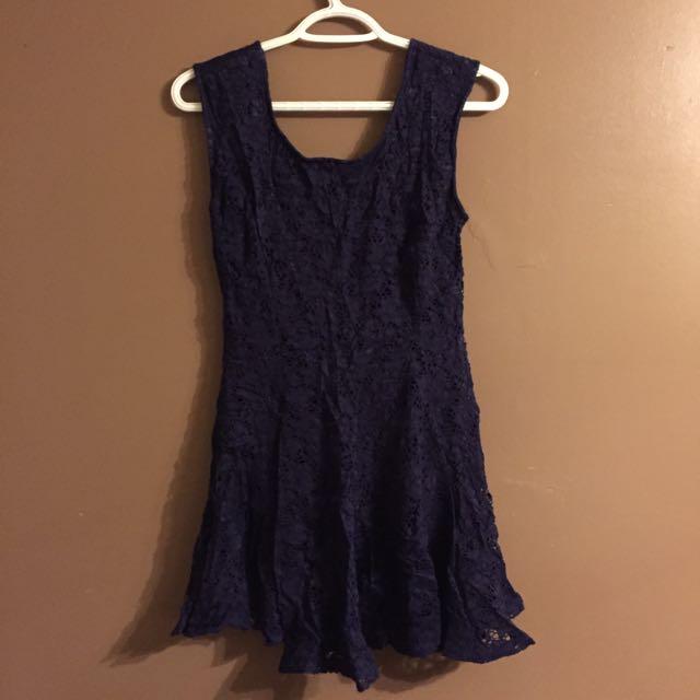 Dark Blue Mini lace dress