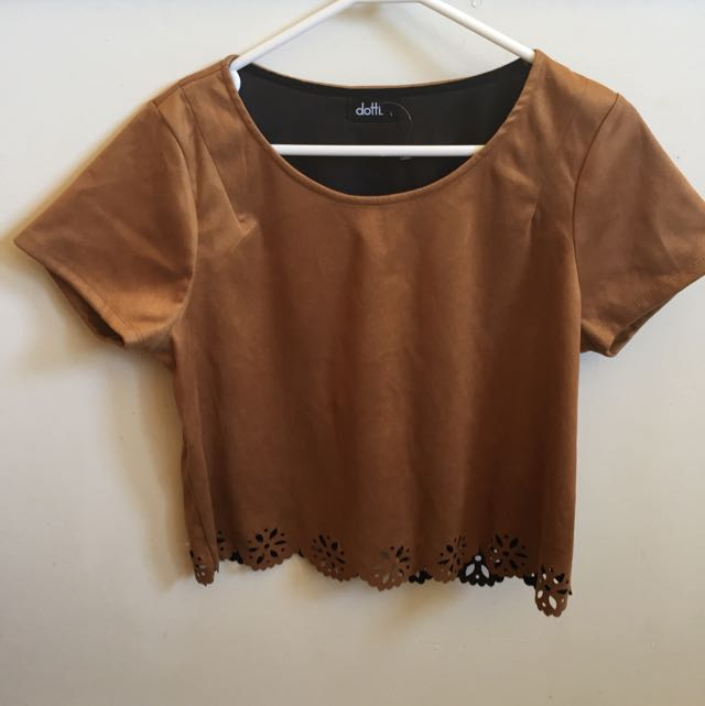 Dotti Caramel Coloured Suede Cropped Tshirt With Cutouts