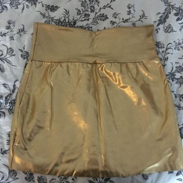 Gold Spandex Mini Skirt