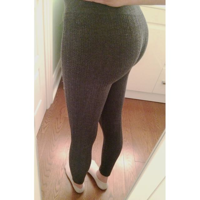 Grey Textured Leggings