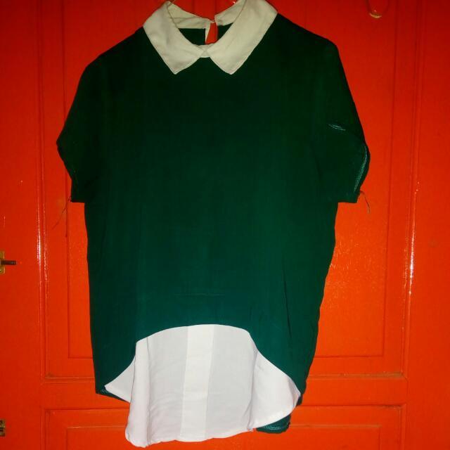 hijau botol blouse