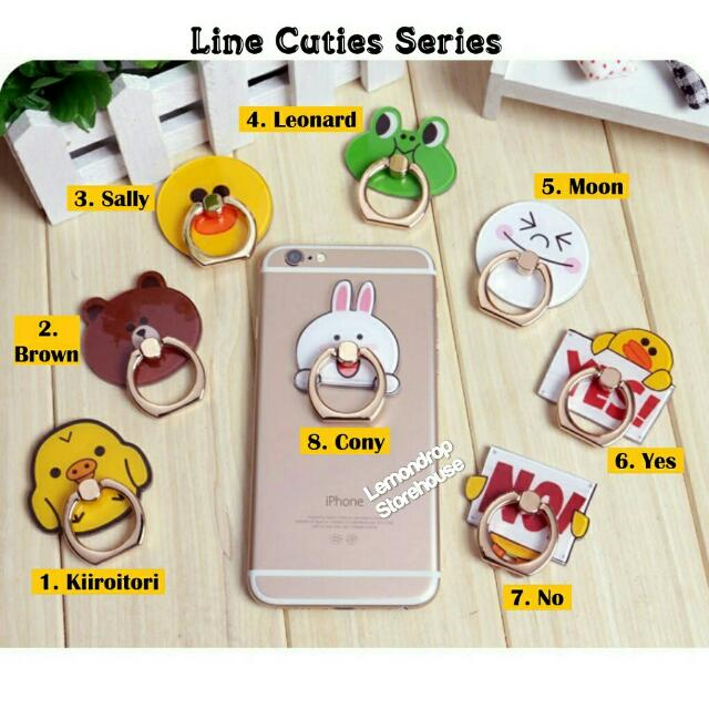 Iring Stand Ring Stent Holder Line Cuties / Penyangga Cincin Hp Brown Cony Sally Moon Leonard Kiiroitori