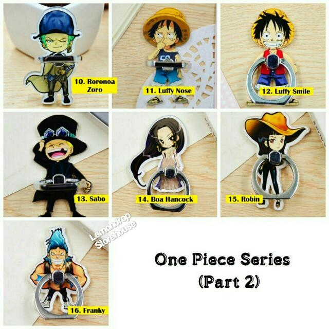 Iring Stand Ring Stent Holder One Piece / Penyangga Cincin Hp Sanji Ace Trafalgar Zoro Brook Dracule Mihawk Luffy Boa Robin Sabo Chopper Usopp Franky Red Hair Shanks