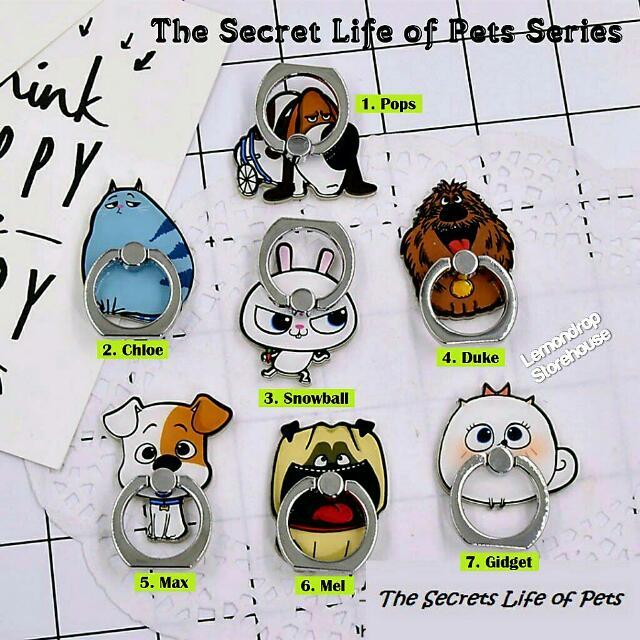 Iring Stand Ring Stent Holder The Secret Life of Pets / Penyangga Cincin Hp Duke Snowball Pops Mel Max Chloe Gidget