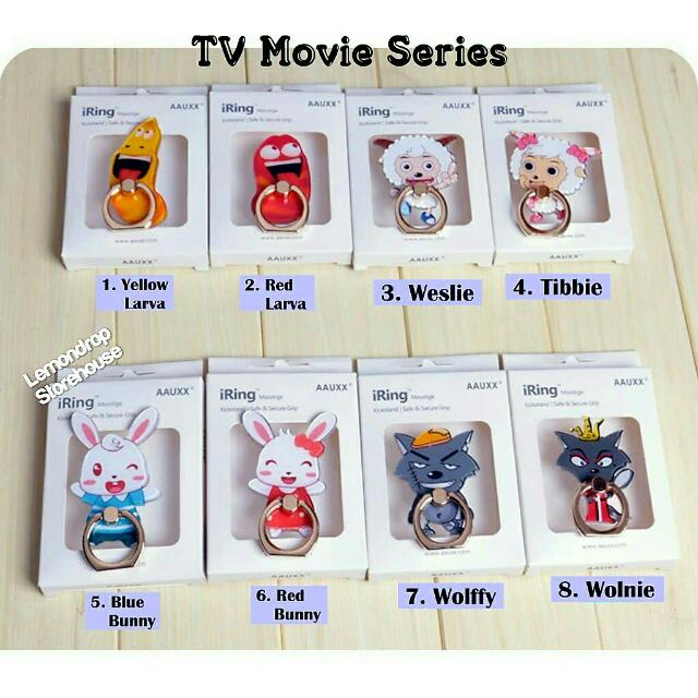 Iring Stand Ring Stent Holder TV Movie / Penyangga Cincin Hp Lucu Unik Bunny Rabbit Wolf Kelinci Larva Goat Domba