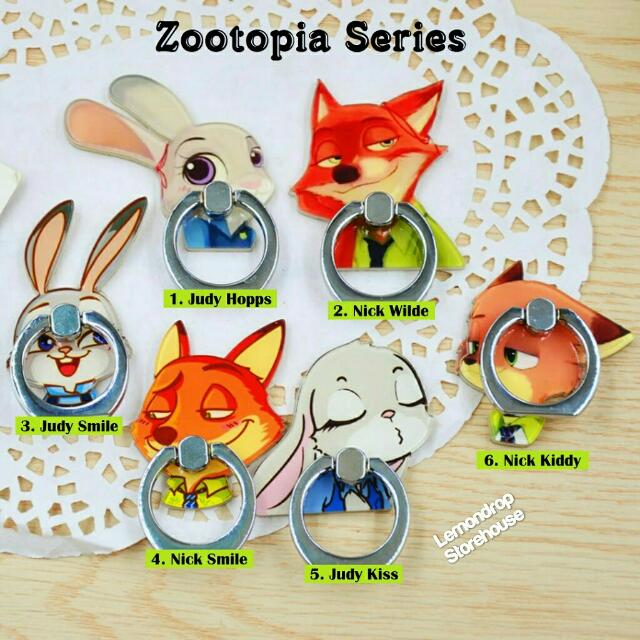 Iring Stand Ring Stent Holder Zootopia / Penyangga Cincin Hp Judy Hopps Nick Wilde Rabbit Wolf Kelinci