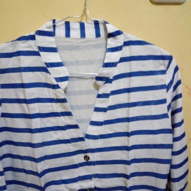 Kemeja Stripe All Size Fit To L, Aslinya Sesuai Gambar