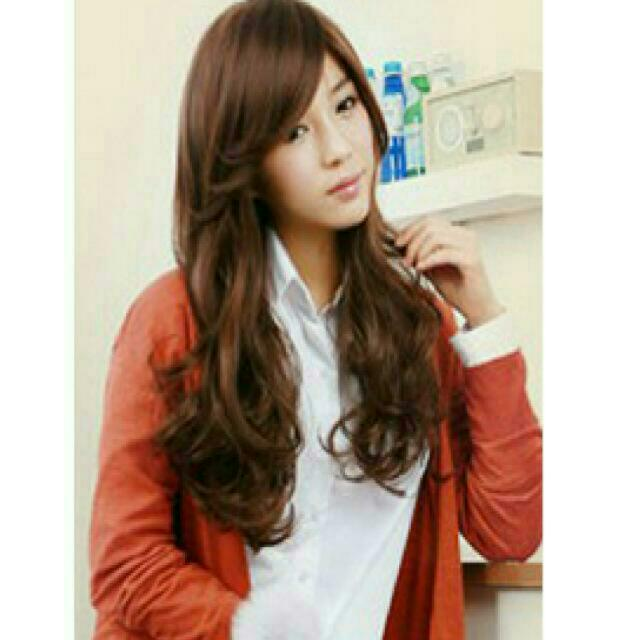 Long Volume Curl Sweet Oblique Bang  Cosplay Synthetic Full Wigs.