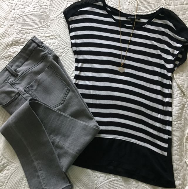 Mango Top - Black And White Strips, Size XS