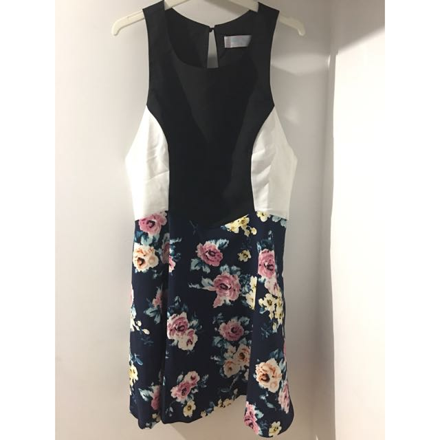 MISS VANILLA Floral Skater Cut-Out Dress [Size 8]