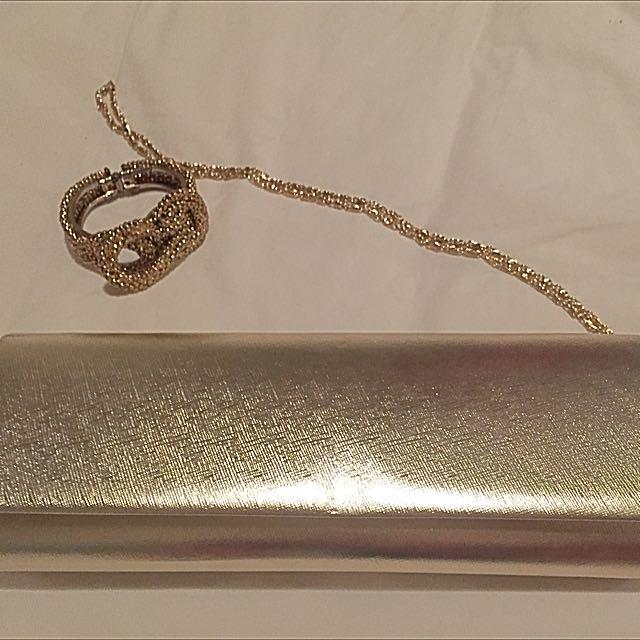 Olga Berg Gold Bag With Slim Gold Chain (long)