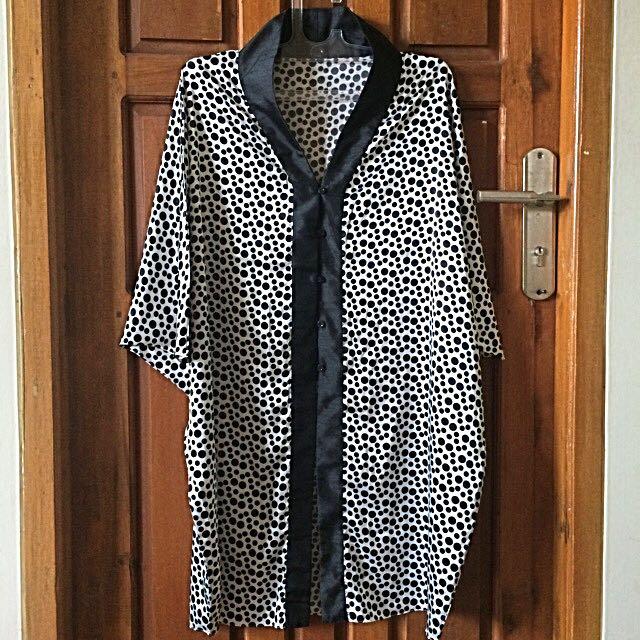 Polkadot Black and White Kimono Outer
