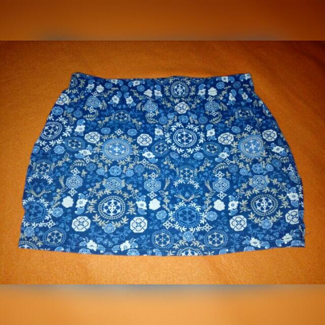 RESERVED Printed Blue Bandage Skirt