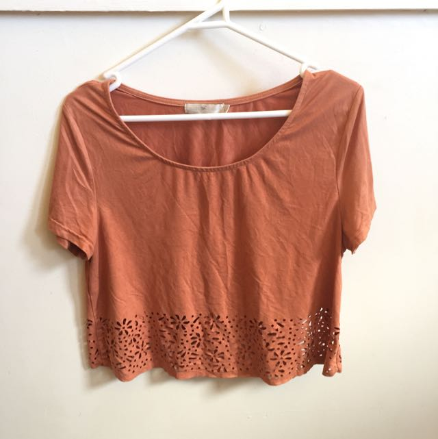 Quirky Circus Dusty Orange Cropped Cutout Tshirt