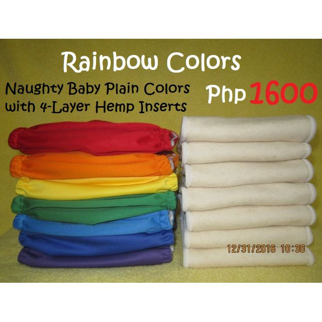 Rainbow Colors Plain Cloth Diaper HEMP Package