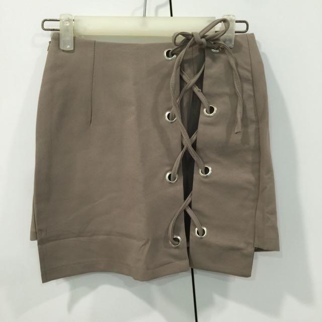 設計感交叉綁帶褲裙(S)
