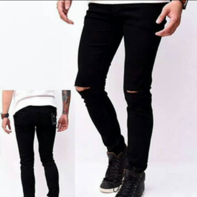 Skinny Basic Ripped Jeans