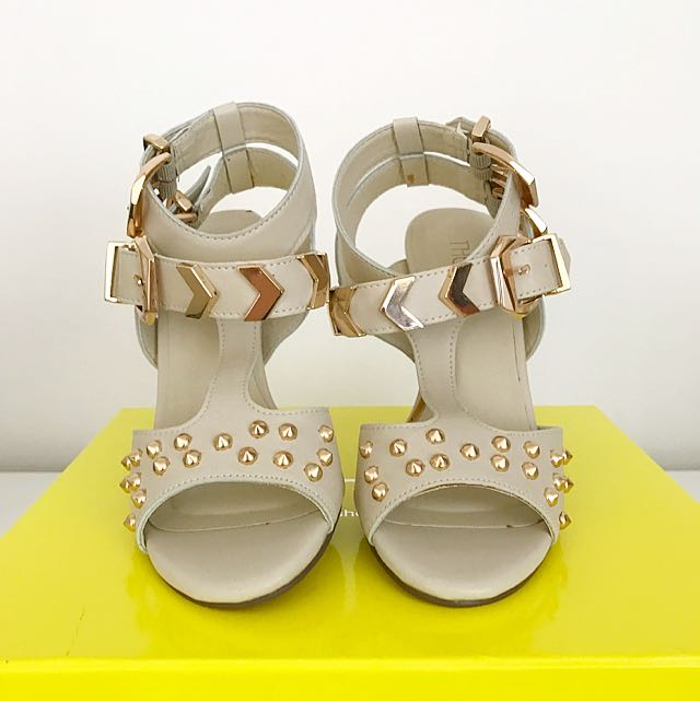 Therapy Gold Studded Ankle Strap Nude Heels