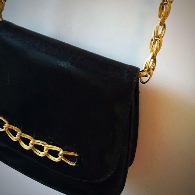 Vintage Little Black Leather Bag