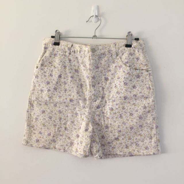 Vintage White Floral High Waisted Shorts