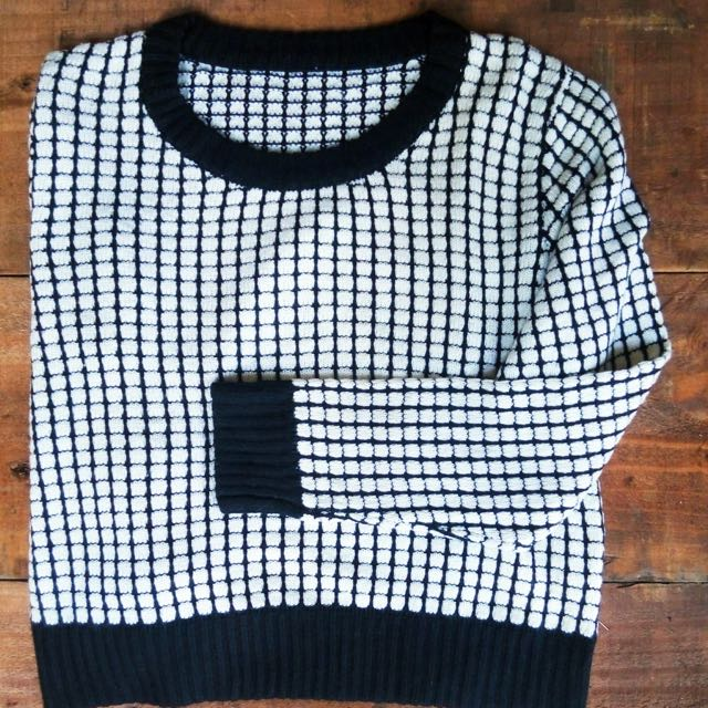 White Square Black Jumper