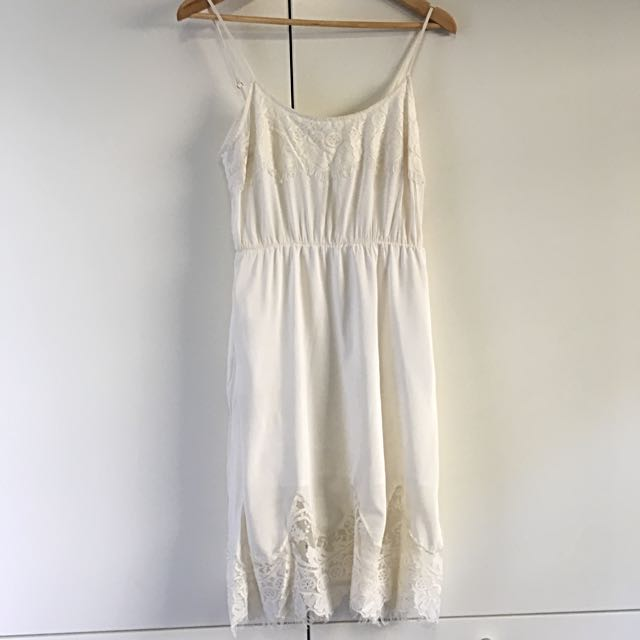 White Suede Silk Dress - Size 10 Ivory