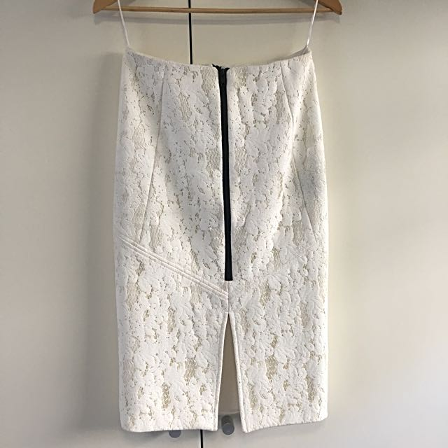 White Suede Skirt - White Lace Size 8