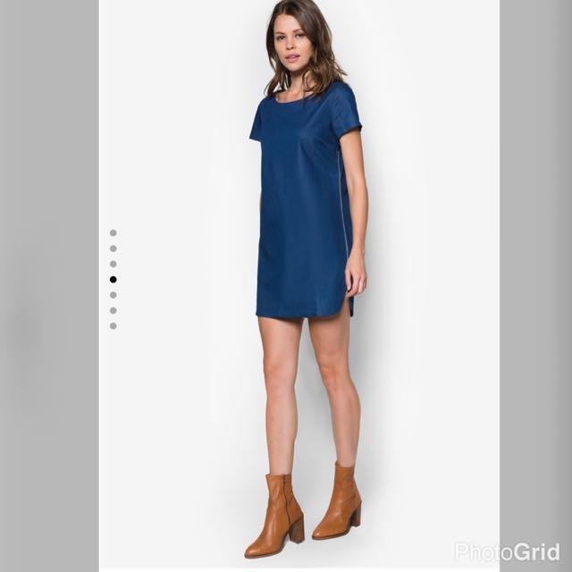 1b502639f0b ZALORA Love Shift dress With side slit DENIM Ocean BLUE Short ...