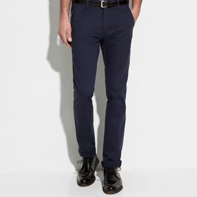 8e066d83c2 Zara Slim Fit Navy Blue Chinos, Men's Fashion, Clothes on Carousell