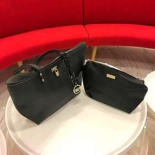 BCBG REVERSIBLE LOCK TOTE HANDBAG + CROSSBODY
