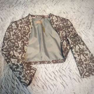 Planet Print Shrug- Platinum (size 6)