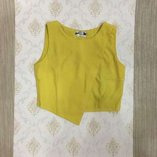 Yellow Mustard Wrap Crop Top