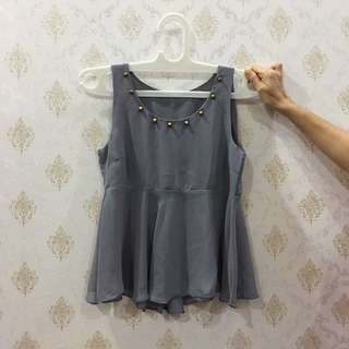 Grey Studded Peplum Top