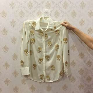 Cream Shirt With Glitter Skeleton