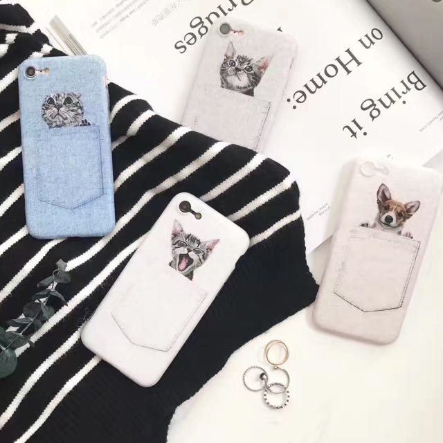 口袋貓咪狗狗全包磨砂軟殼0.8超薄手感有掛繩孔iPhone手機殼iphone7/iphone6/plus