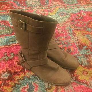Cole Hann Mid-Calf Brown Suede Boots