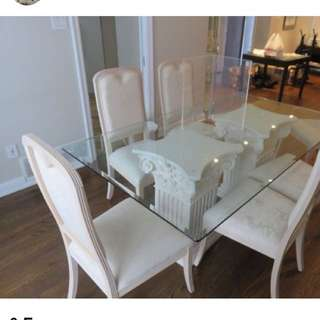 Dining Table Glass 6 Chairs reduced $375