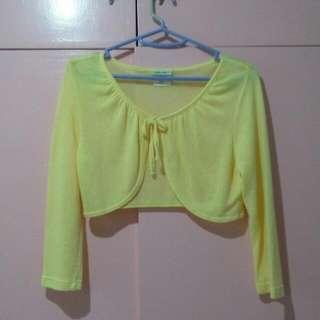 Yellow Cropped Cardigan