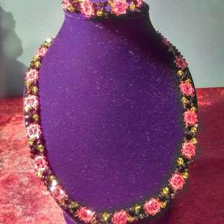 Swarovski Crystal Flower Necklace and Bracelet Set