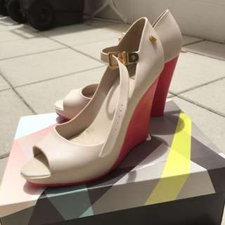 Melissa Pink And Cream Wedges Size 38