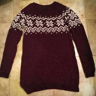 Garage Maroon Sweater Dress Size Small