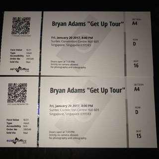 Bryan Adam 2017 Tour Ticket